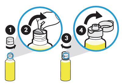 노란색 잉크통의 뚜껑을 열고 밀봉을 제거한 후 뚜껑을 닫는 예시 화면