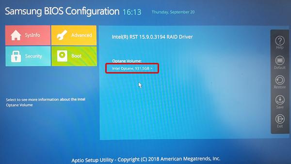 중간에 보이는 인텔 옵테인 931.5GB 선택 화면