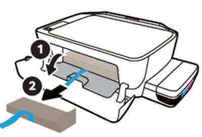 앞면의 잉크 카트리지쪽 덮개를 열어 추가로 테이프를 잡아당겨 보호재를 제거하는 화면
