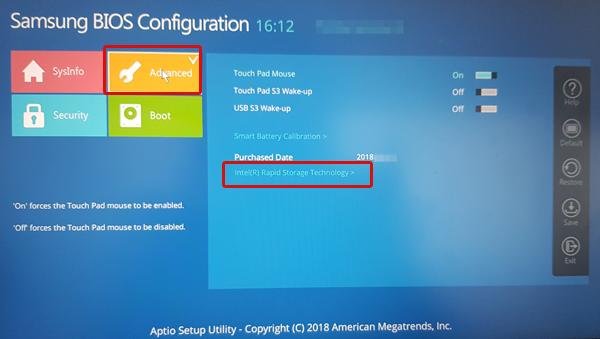 왼쪽 상단에 advanced 선택 후 오른쪽 하단의 Intel(R) Rapid Storage Technology를 선택하는 화면