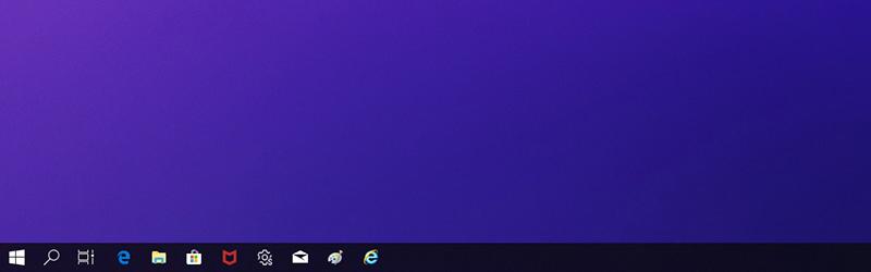 윈도우10 버전1809에서 맨 하단의 시작 표시줄 아이콘이 작아져서 보여지는 증상 화면