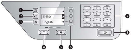 scx-1855f모델의 조작판 화면에 1번부터 8번까지 버튼 위치 안내 이미지