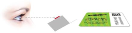 보증 라벨을 보는 각도에 따라 양각된 회사이름이 보이는 예시 화면