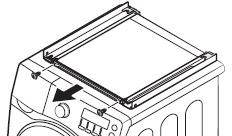 BRACKET STACKING(F)을 분리한 후 GUIDE STACKING이 조립된 세탁기를 원래의 위치에 다시 설치하는 이미지