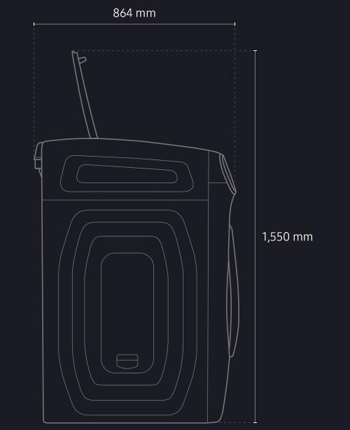 제품 상단 콤팩트워시의 덮개 열었을때의 전체 높이 1,550 mm와 가로폭 864 mm 안내 화면