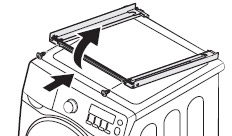 BRACKET STACKING(F)을 GUIDE STACKING에 임시로 조립한 후 BRACKET STACKING에 걸린 채로 들어 올리는 이미지