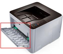 SL-M3310ND모델의 다목적 용지함위치 안내 화면