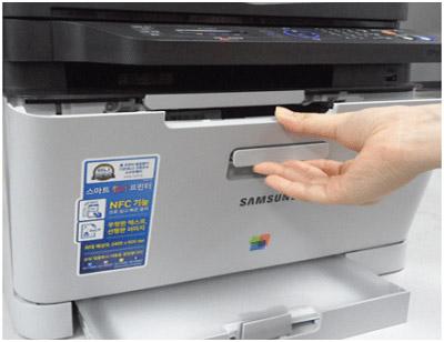 프린터 전면 덮개를 여는 화면