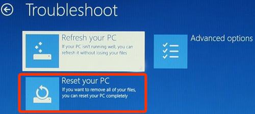 왼쪽 중간에 있는 Reset your PC를 선택하는 화면