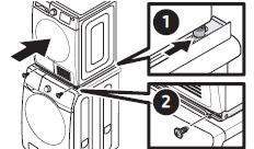① 두 사람이 건조기를 들어 GUIDE STACKING 위에 올려놓고 건조기의 뒤쪽 조절 다리 2개가 BRACKET STACKING의 U 형상에 걸릴 때까지 밀어주세요. ② BRACKET STACKING(F)을 그림과 같이 GUIDE STACKING에 조립하고 M4x12 나사로 조립해 주세요.