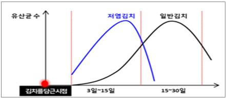 저염 김치 특징 그래프 이미지입니다.
