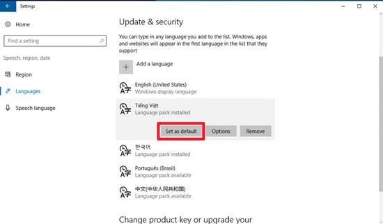 update&secyrity의 특수어에서 중간에 보이는 set as default 선택 화면
