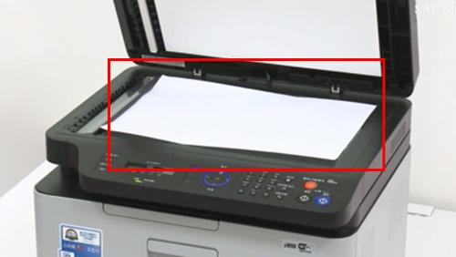 스캔 유리면에 원본용지를 올려놓은 화면