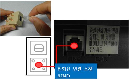 복합기 뒷면에 있는 전화선 연결 소켓에 전화선을 연결하는 예시 화면