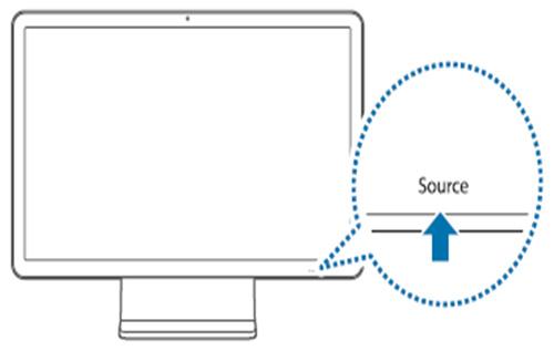 제품 앞면 왼쪽 맨 아래에 source 위치 화면