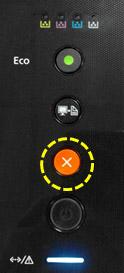 주황색 취소 버튼 위치와 그 아래 청색 표시등 켜진 SL-C430시리즈 제품 예시 화면
