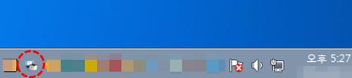 윈도우 작업표시줄 오른쪽에 프린터 모양 아이콘 예시 화면