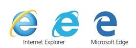 인터넷 익스플로러 아이콘과 엣지 아이콘 비교 이미지
