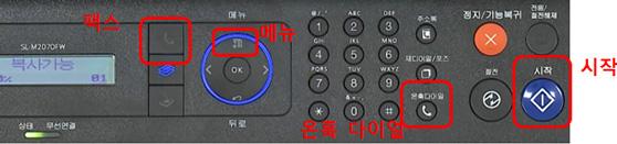 복합기 조작판에 왼쪽에 팩스버튼, 오른쪽에 메뉴, 더 오른쪽에 온훅다이얼버튼, 그 옆에 시작버튼 위치 안내 화면