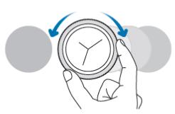 시계 화면에서 베젤을 반시계 방향으로 돌리면 알림 화면이 나타납니다.