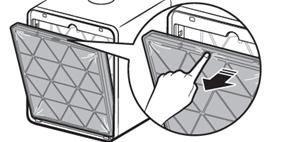 중앙 홈을 눌러 하이브리드 집진필터 분리